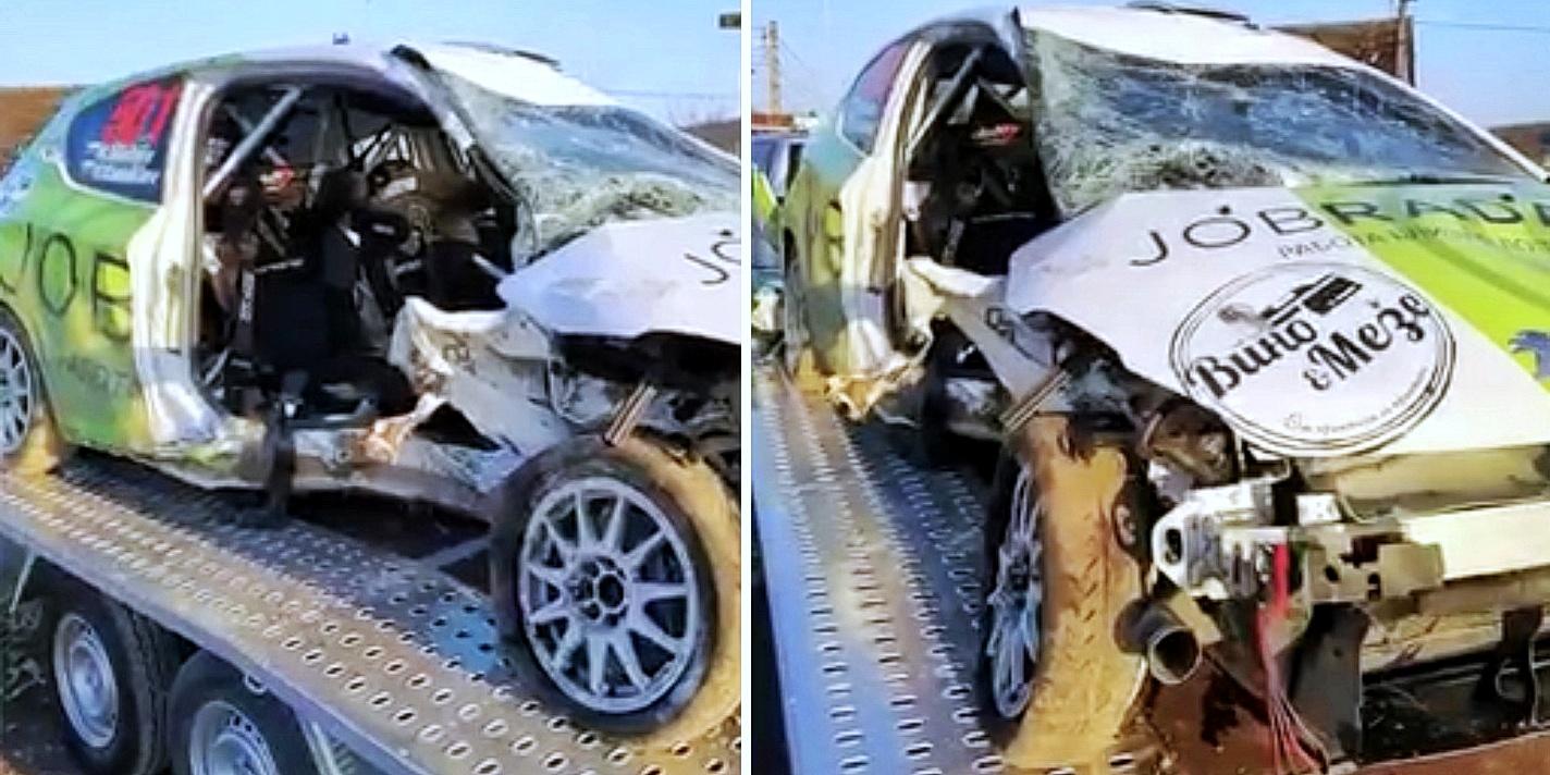 Състезателният автомобил на Янаки Янакиев след тежката катастрофа